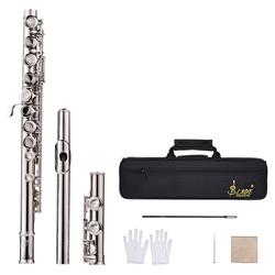 16-Hole C Key Flute Set Western Concert Flute Silver Cupronickel Woodwind Instrument with Cleaning Cloth Stick Glove Screwdriver
