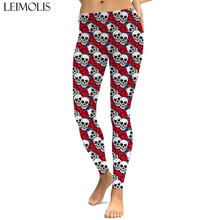 LEIMOLIS sexy gothic red rose skull black print push up leggings plus size women fitness workout punk high waist spandex leggins
