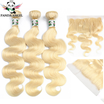 613 Blonde Bundles With Frontal Brazilian Body Wave Lace Closure Remy Human Hair Extensions Panda