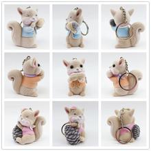 Toys Flocking Animal Pendant Key-Chain Squirrel Stuffed Christmas-Gifts Plush Small Cartoon