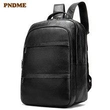 PNDME black genuine leather men's backpack casual simple large capacity first layer cowhide laptop bagpack work travel bookbag