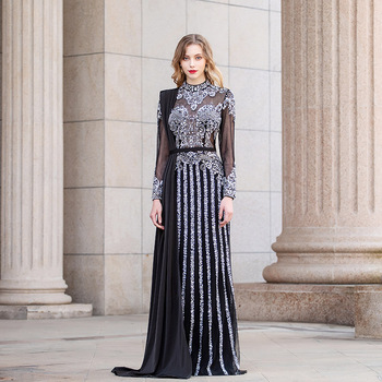 Luxury Black Rhinestones Full Sleeve Evening Dress High Neck Tulle Beaded Formal Mermaid Gown Couture Pageant Dubai Dresses