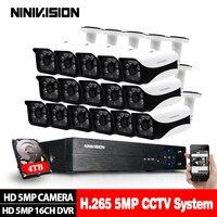 16CH 5MP 5in1 CCTV H.265 DVR HD 16PCS 2560*1944 5MP TVI Security Camera Outdoor Bullet Camera Home Video Surveillance System Kit