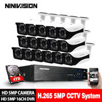 16CH 5MP 5in1 CCTV H.265 DVR HD 16PCS 2560*1944 5MP TVI Security Camera Outdoor Bullet Camera Home Video Surveillance System Kit