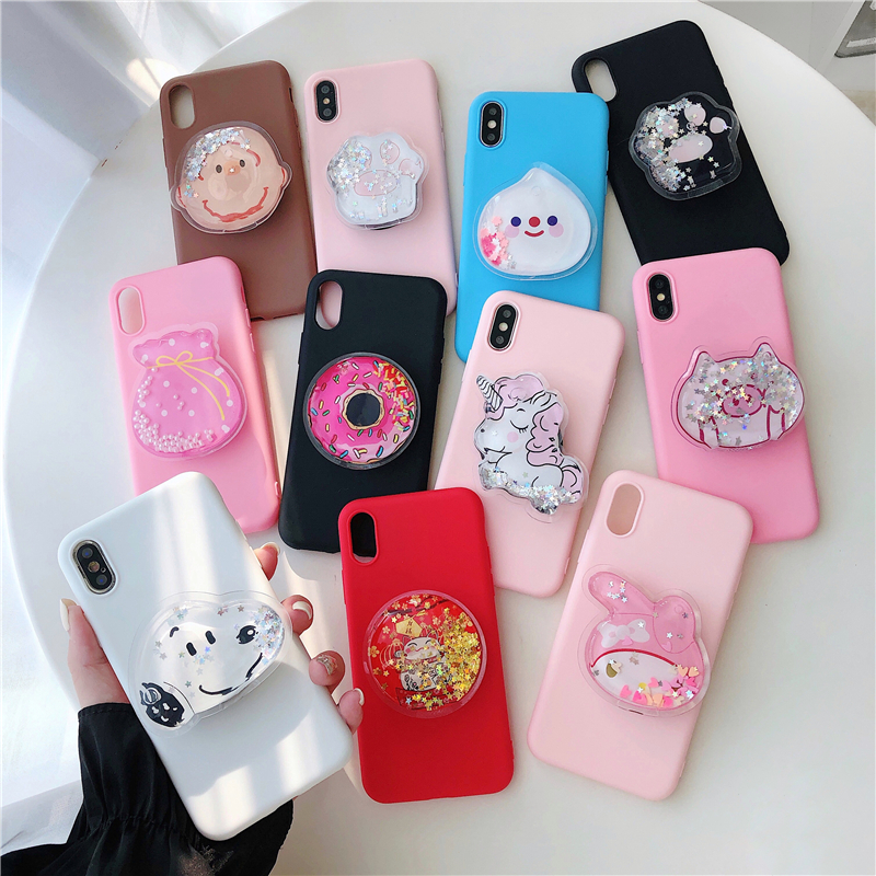 3D Quicksand Phone Holder Case For Huawei Honor 9 10 Lite View 20 Pro 6X 7X 8X 8C 6C Play 10i 20i Girl Cute Stand Soft Cover
