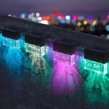 Solar Step Lights Outdoor Solar Powered Fence Lights Deck Lights Outside Night Fence Yard Decor Lighting image