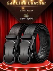 Men's Belt Automatic-Buckle N71314 Black Bison Denim Fashion