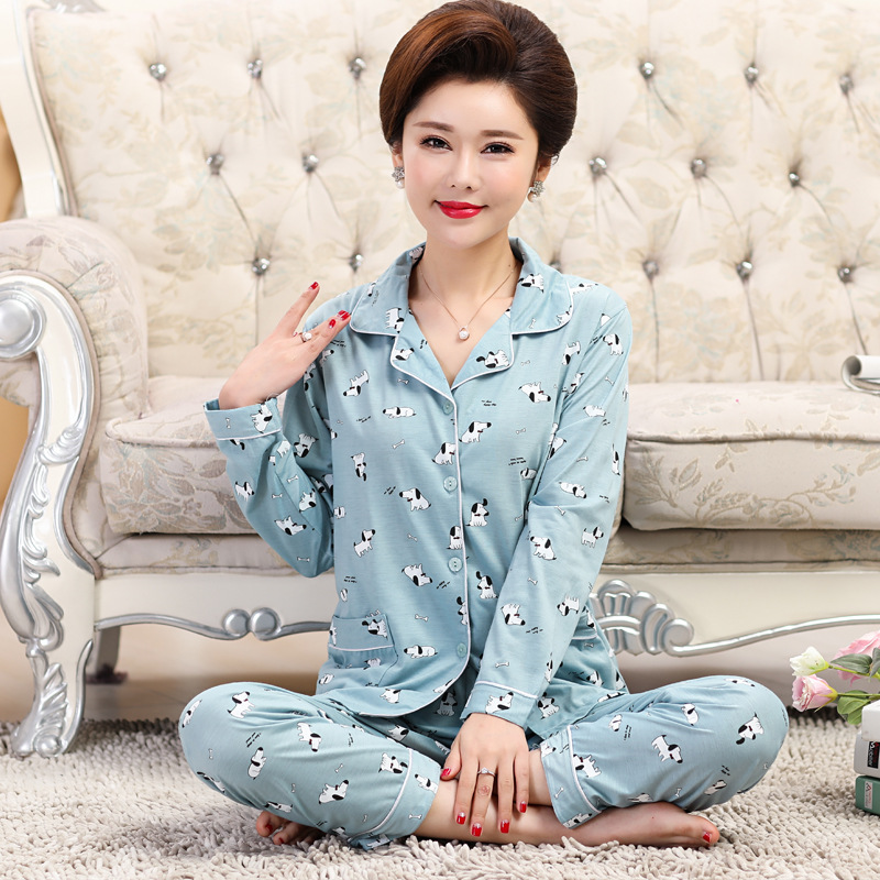 Mom Pajamas Women's Knitted Cotton Long Sleeve Pajamas Spring And Autumn Middle-aged Women Plus-sized Homewear Set