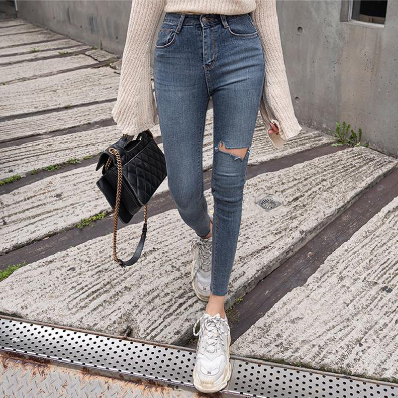 Mozuleva Plus Size Button Fly Women Jeans High Waist Denim Pant Women High Elastic Skinny Pant Ripped Hole Stretchy Lady Trouser