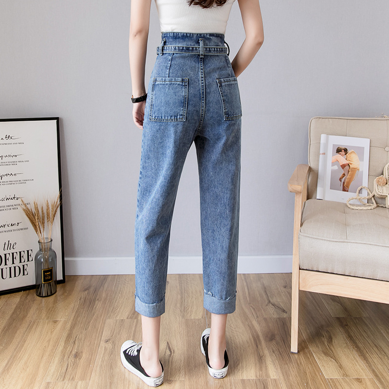 Jeans Women's Spring And Summer Loose-Fit Slimming Harem Pants 2019 New Style High-waisted Straight-Cut Capri Pants Students Rad