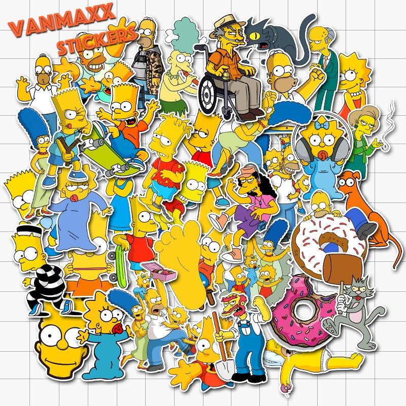 VANMAXX 50 PCS Cartoon Simpsons Family Graffiti Stickers Kid's Toy Waterproof Vinyl Decal For Laptop Helmet Bicycle Luggage