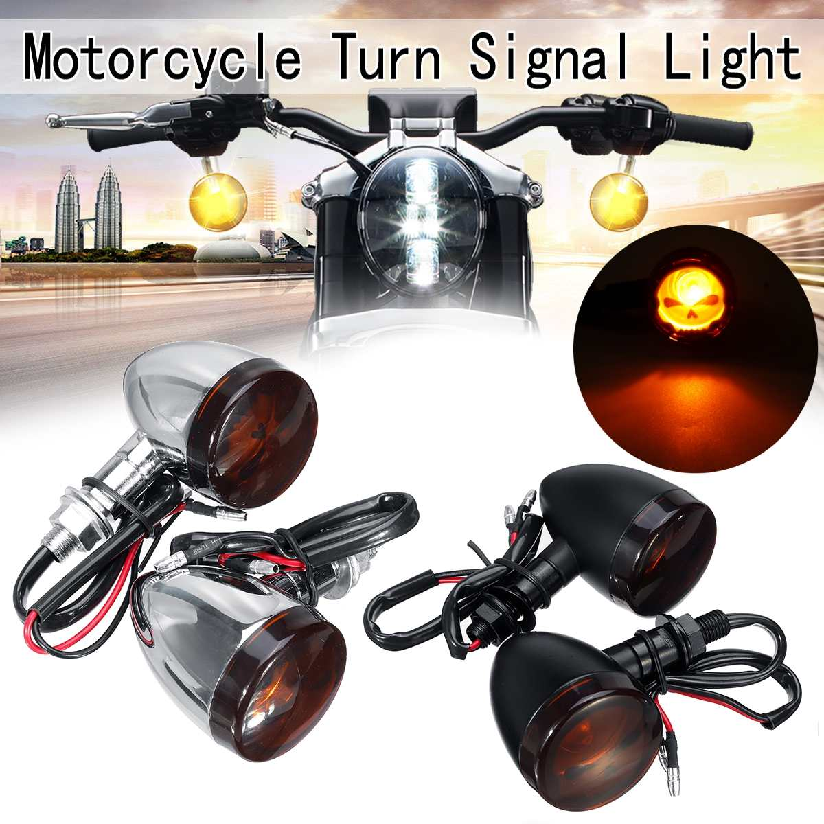 12V Motorcycle Turn Signal LightS Indicator Amber Lamp For Honda Suzuki Kawasaki Yamaha Cruiser Chopper Sport Bike