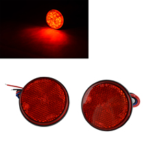 2PCS 12V 24LED Motorcycle Round Reflector Turn Signal Light With Red Lens For Motorbike Tail Brake Stop Decorating Lamp
