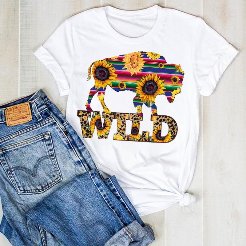 Women Lady Flower Bull Heifer Fruit Print Ladies Fashion Summer T Tee Tshirt Womens Female Top Shirt Clothes Graphic T-shirt
