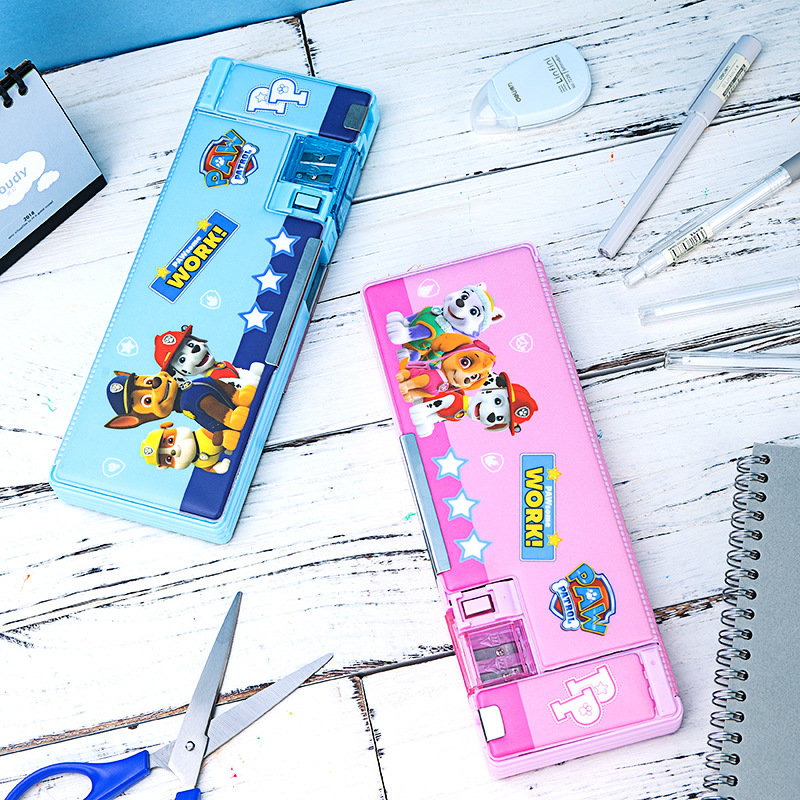 Deli 70869 Paw Patrol University Work Stationery Box PVC Environmentally Friendly Two-color Students Pencil Case Storage Box Two