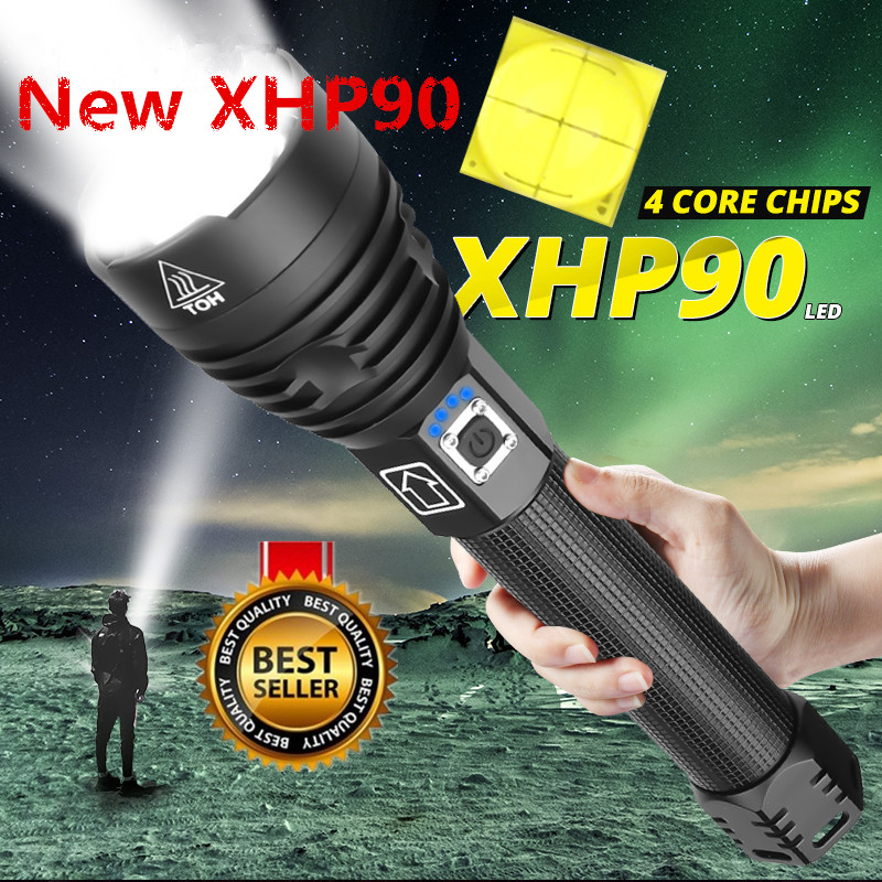 Super Powerful Xlamp XHP90 XHP70.2 LED Flashlight LED Torch USB XHP50 Lamp Zoom Tactical Torch 18650 26650 Rechargeable Battery