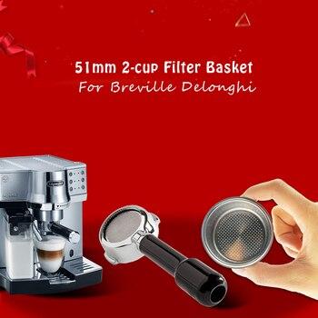 Filtro para máquina de café Breville Delonghi Krups de alta presión accesorios porosos doble taza de acero inoxidable de una sola capa 51mm 2Cup