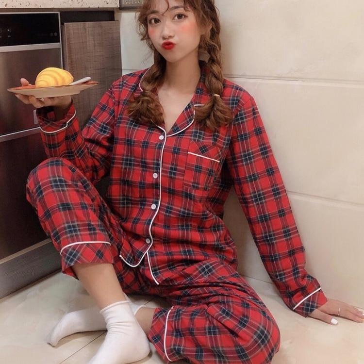 Women Pajama Sets Pyjama Plaid Cotton Long Sleeve Pijamas For Women Homewear Spring Autumn Winter Loose Sleepwear Nightwear