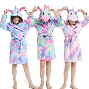 Kigurumi jednorożec zwierząt chłopcy dziewczęta piżamy Onesie piżamy szlafroki dziecięce flanelowe ręcznik z kapturem szlafroki dziecięce szlafroki tanie i dobre opinie YSOYOK Poliester CN (pochodzenie) 100-160cm Pasuje prawda na wymiar weź swój normalny rozmiar Unisex Kids Bathrobe 3 4 5 6 7 8 9 10 11 Years