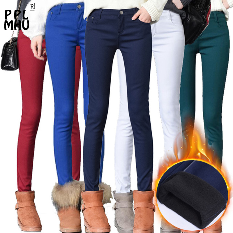 Fashion Women Candy Color 95% Cotton Thicken Elastic Slim Pants Femal Winter Street Wear Pencil Ladys Elegant High Waist Pants