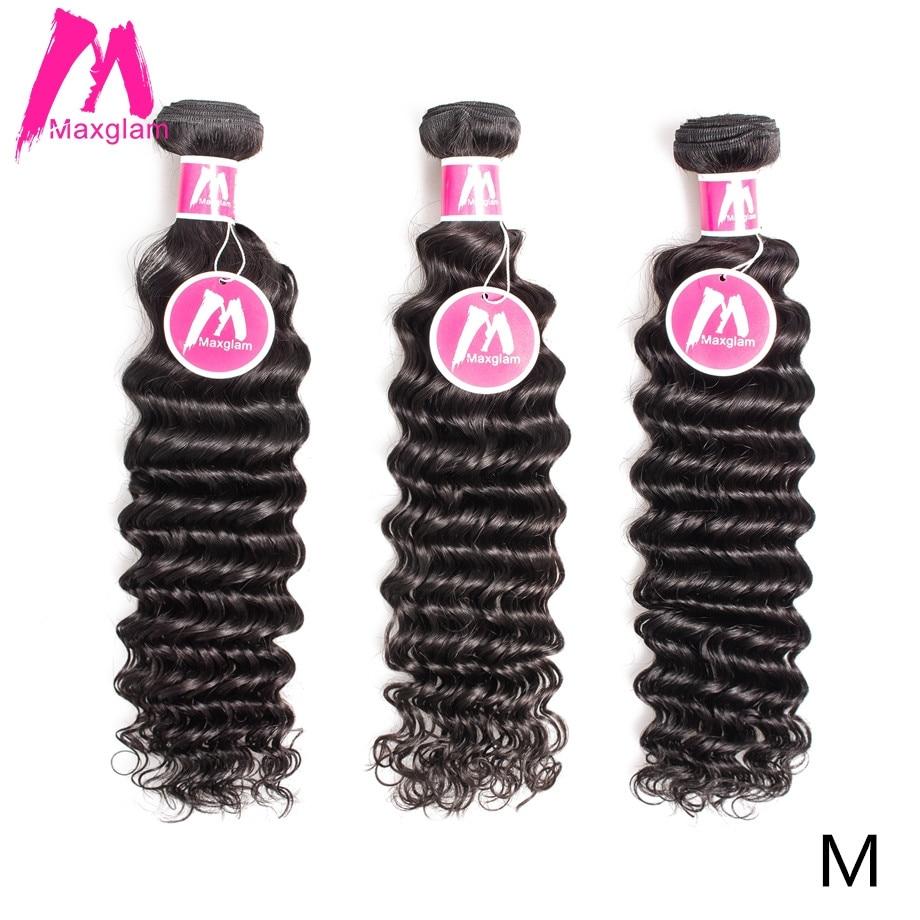Maxglam Raw Virgin Hair Bundles Natural Color Deep Wave Short Long Brazilian Human Hair Extension For Black Women Middle Ratio