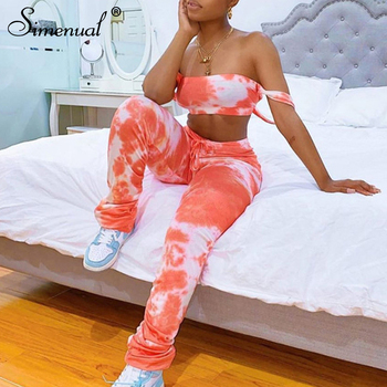 Simenual Slip Strap Tie Dye Bodycon Women Matching Sets Sexy Club Fashion Skinny 2 Piece Outfits Crop Top And Stacked Pants Set
