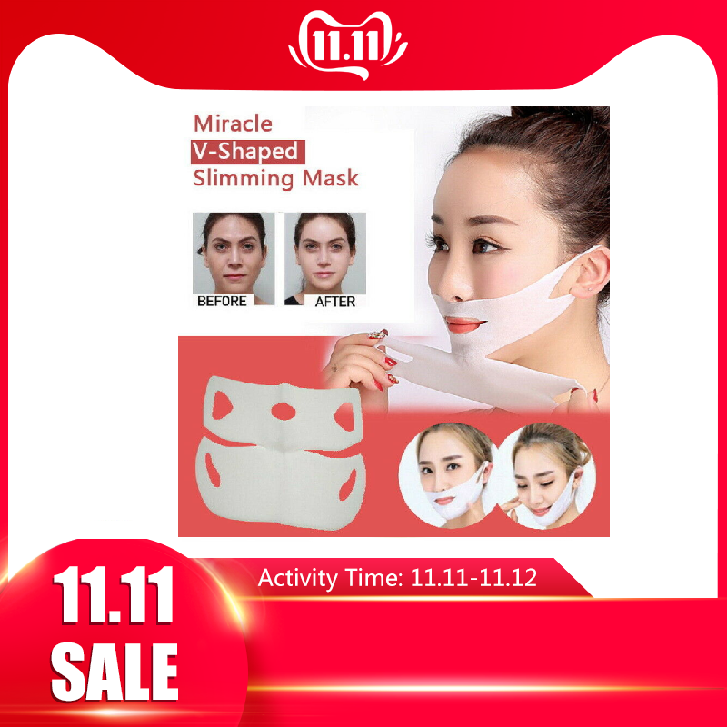 Miracle V-Shaped Lifting Facial Neck Mask Eliminate Edema Firming Thin Slimming Bandage Peel-off Mask Skin Care TSLM1
