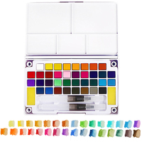 Professional Watercolor Paints Set with Paintbrush for Painting Art Supplies 36 Colors Portable Travel Solid Pigment for Drawing