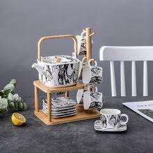 Керамика кофе чайный набор японский костяной фарфор Черный Белый