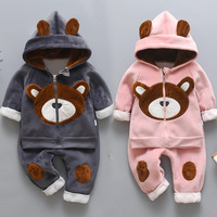 Fashion cartoon bear Newborn Baby Boys Clothes Thick warm Winter Baby Girls Clothes kids Outfit Suit Infant Clothing For Baby Se