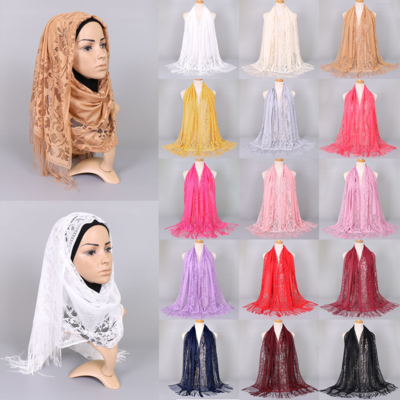 Women Lace Tassel Scarf Lady's Headscarf Hollow Triangle Scarf  Shawls Scarves Headband See Through Black Red Scarf Flower White