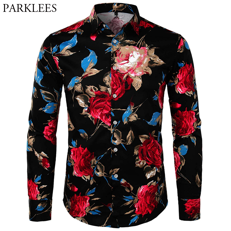 Hawaiian Men Shirt Brand Rose Floral Print Men Streetwear Slim Fit Casual Men Long Sleeve Shirts Turn-Down Collar Mens Clothing