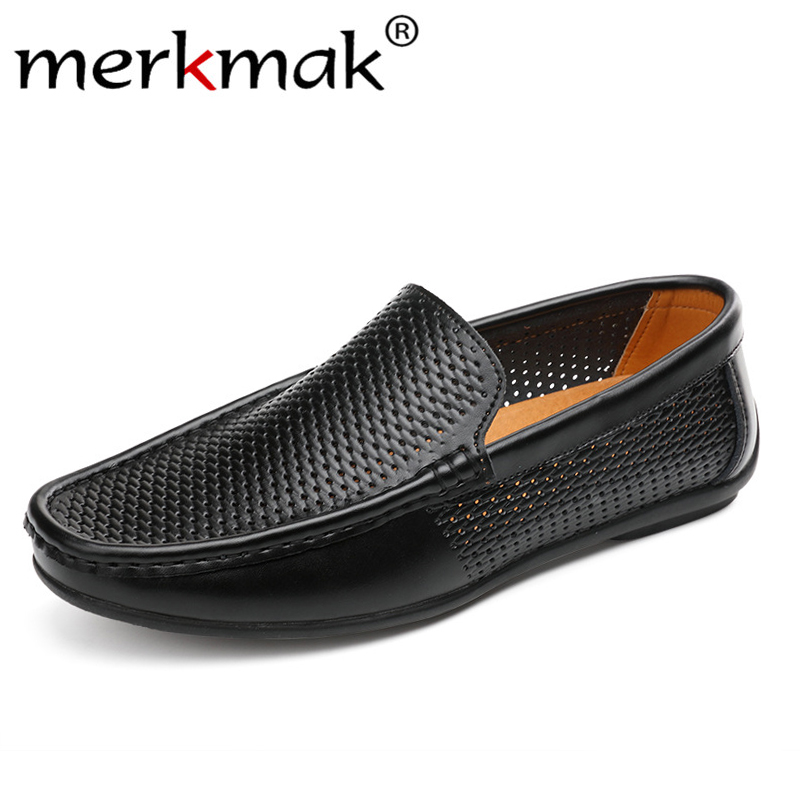 Merkmak Spring Summer Hollow Men Loafers Leather Moccasins Flats Casual Non-slip Breathable Driving Shoes Man Lightweight Shoes