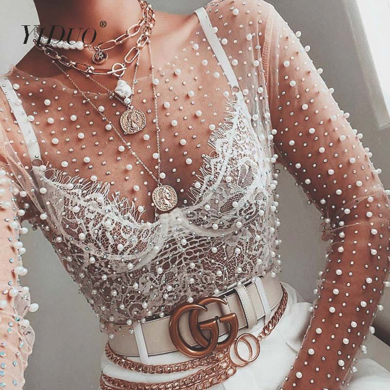 YiDuo Women Transparent O-Neck Long Sleeve Sexy Lace Mesh Shirt Club Party Tops Ladies 2020 Spring Pearl Beading Blouse Blusas