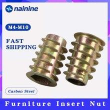 10/20 Вт, 30 Вт, 50 шт. M4 M5 M6 M8 M10 резьба из цинкового сплава для деревянная вставка гайки с фланцем Шестигранная головка диска мебельных шурупов HW058