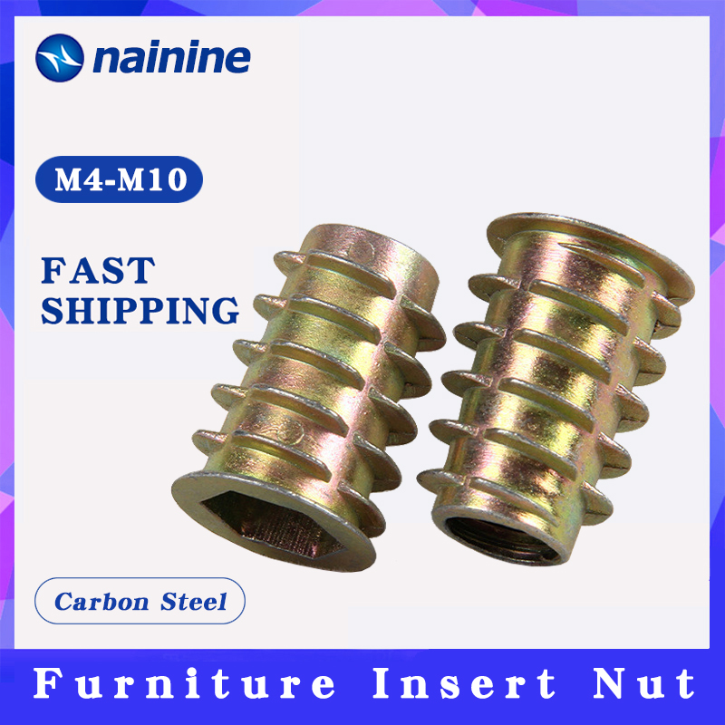 10/20/30/50Pcs <font><b>M4</b></font> M5 M6 M8 <font><b>M10</b></font> Zinc Alloy Thread For Wood Insert Nut Flanged Hex Drive Head Furniture Nuts HW058 image