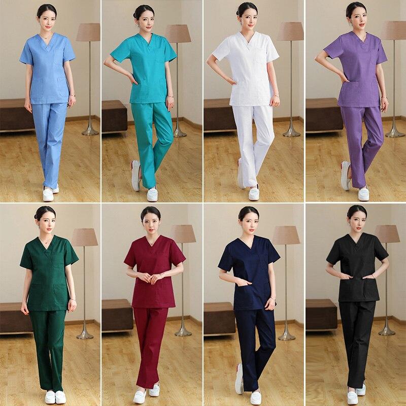 Médicos do hospital conjuntos médicos uniformes de manga curta ternos dental clínica salão de beleza workwear roupas de enfermagem esfrega calças