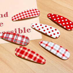 [Xwen] New Lovely Red Hairpin Wave Dot Grid BB Clip Side Hairpin Girl Top Clip Plaid Headdress Fashion Hair Accessories OH2254