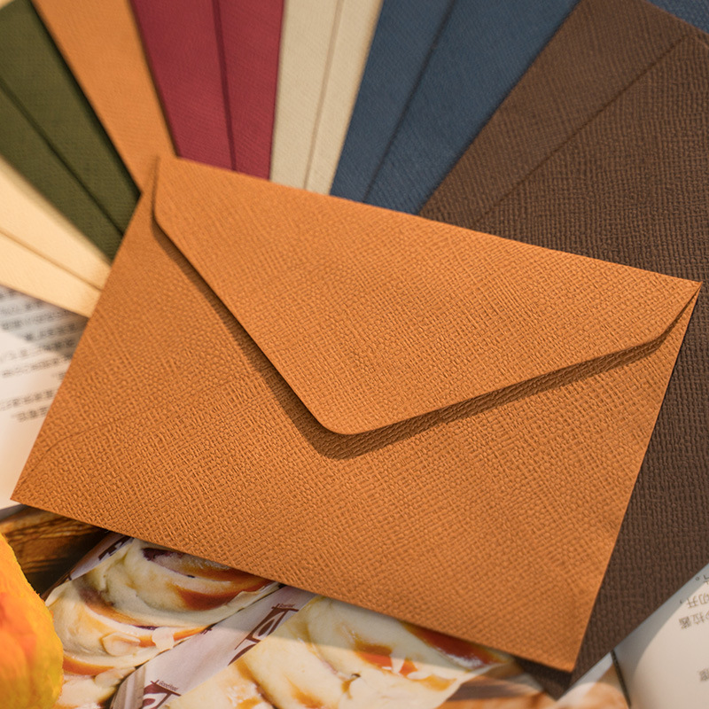 New 50pcs/pack C6 Retro Hemp Texture Western Envelopes For Wedding Party Invitation Greeting Cards Gift Envelopes Customized