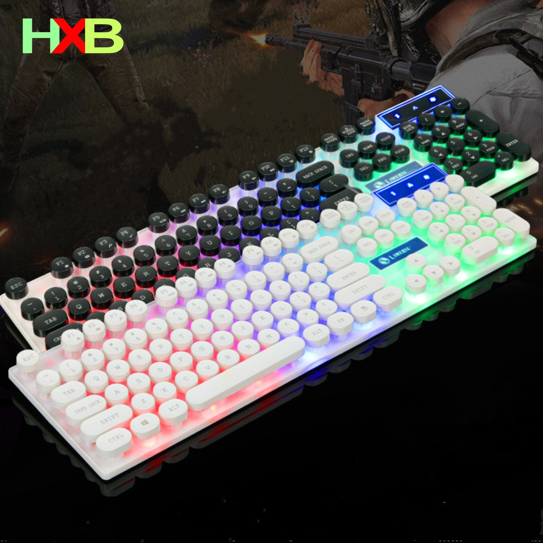 HXB Gaming Keyboard Luminous punk Keyboard USB Wired Waterproof Keyboard Retro Round gamer Keyboard For Desktop PC Laptop|Keyboards| |  - title=