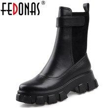 FEDONAS tıknaz topuklu Platform çizmeler kış yeni hakiki deri kadın yarım çizmeler parti gece kulübü ayakkabı motosiklet Boots