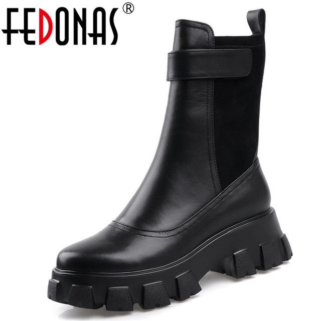 FEDONAS שמנמן עקבים פלטפורמת מגפי החורף חדש אמיתי עור נשים קרסול מגפי מסיבת לילה מועדון נעלי אישה אופנוע מגפיים