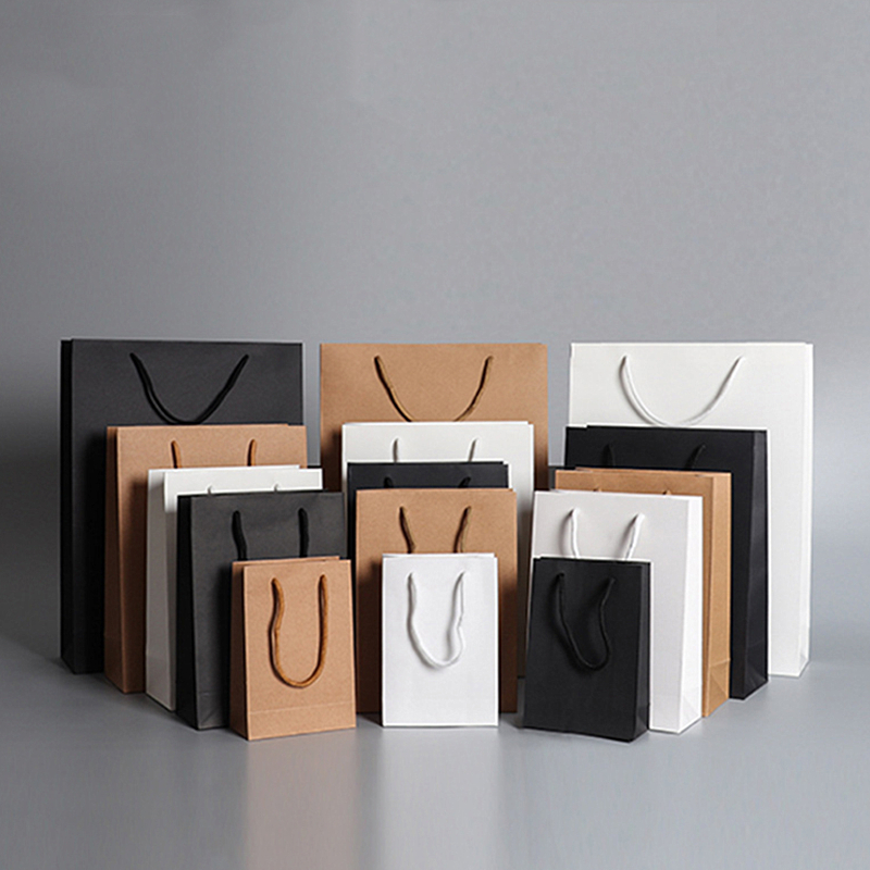 50X Optional Custom Logo Printed Thick Grossy White Paper Bag 250grams Cardboard Paper Shopping Bags With String