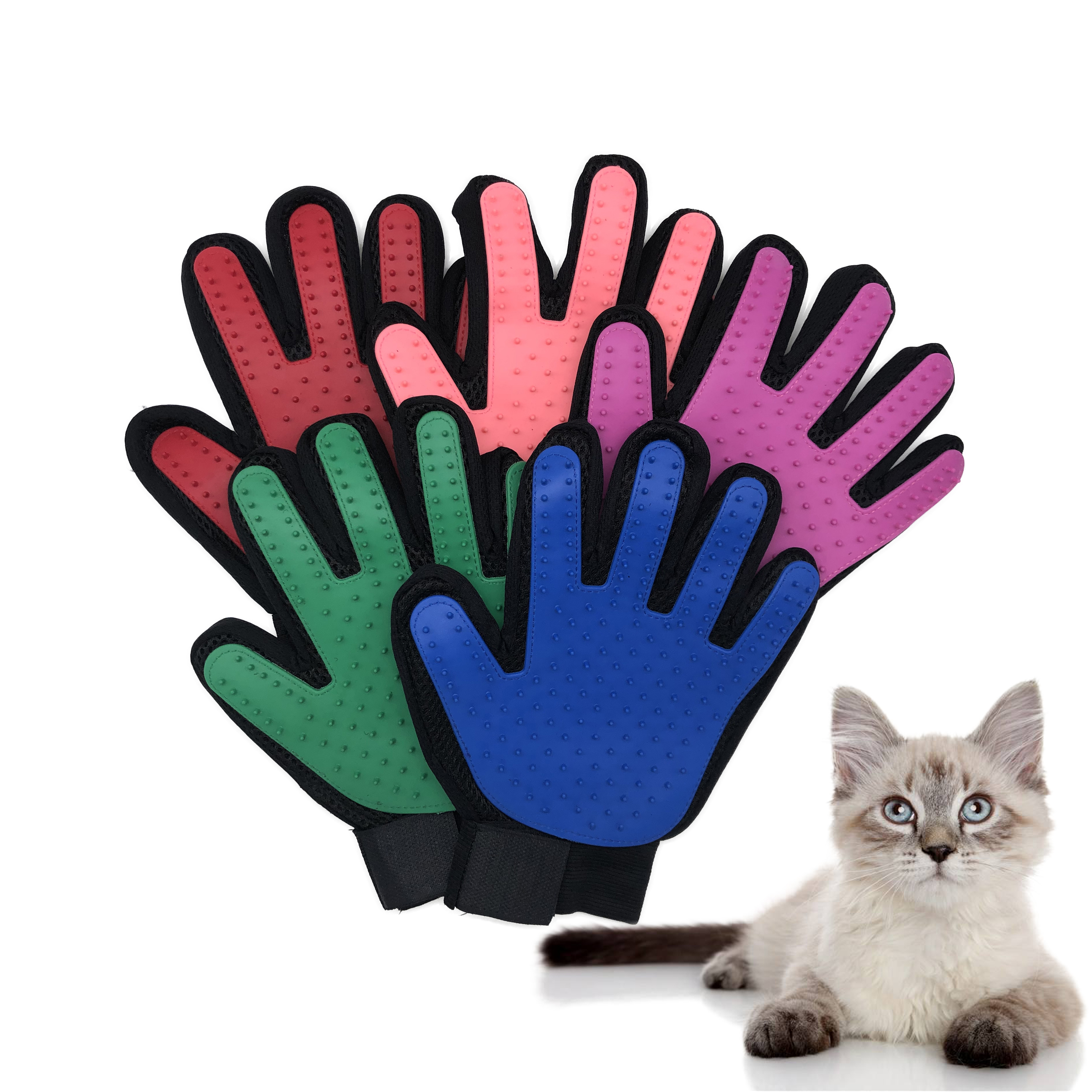 Cat Grooming Gloves for Cats Pet Gloves Pet Hair Deshedding Brush Comb Glove for Pet Dog Cleaning Massage Glove for Animal(China)