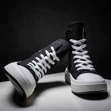 סתיו גברים נעליים יומיומיות בד זכר שחור Krasovki Tenis Hombre Fahsion Chaussures Homme לנשימה גבוהה למעלה סניקרס גברים מאמני