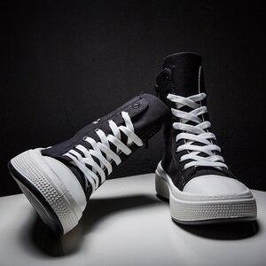 Image 1 - ฤดูใบไม้ร่วงชายรองเท้าสบายๆรองเท้าผ้าใบชายสีดำ Krasovki Tenis Hombre แฟชั่น Chaussures Homme Breathable High Top รองเท้าผ้าใบ Trainers