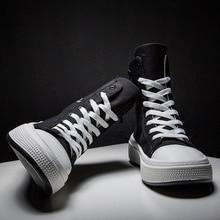 Queda Dos Homens Sapatos Casuais Sapatos de Lona do Sexo Masculino Preto Krasovki Tenis Hombre Chaussures Homme Respirável Sapatilhas Superiores Altas Formadores Homens Fahsion