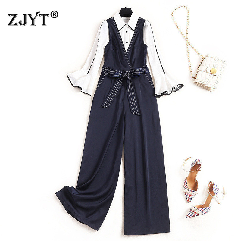 Elegant Lady Office Casual Outfits 2020 Spring Designer Women Flare Sleeve White Chiffon Blouse And Pants 2Piece Set Overalls