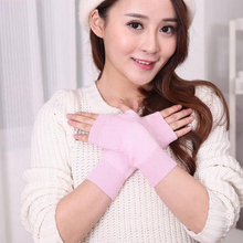 Wrist-Protector Fingerless-Gloves Mittens Half-Finger Warm Winter Women 23-Colors Knit