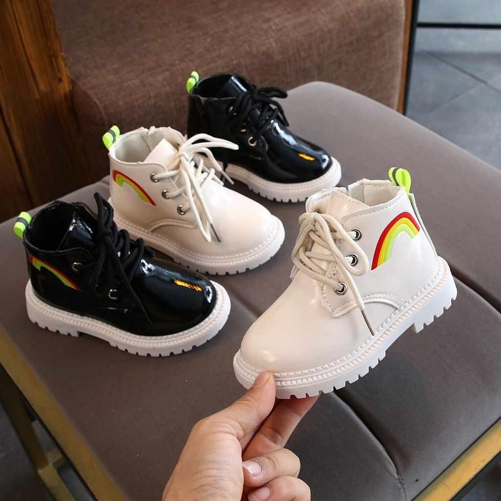 2019 ילדים חדשים ילד תינוקת ילד קשת ספורט רוכסן קצר מגפי מגפיים קצרים מקרית אופנה נעלי ספורט נעליים